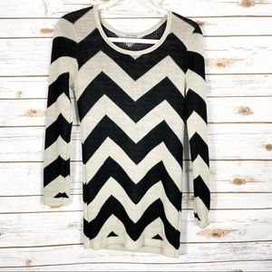 Charlotte Russe Black and Tan Chevron Sweater Top